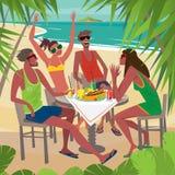 Vrienden die ontbijt eten bij een lijst aangaande het strand vector illustratie