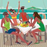 Vrienden die ontbijt op het dek van een schip eten stock illustratie