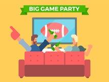 Vrienden die op een voetbalspel op TV letten vector illustratie