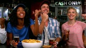 Vrienden die op TV letten en een drank hebben stock video