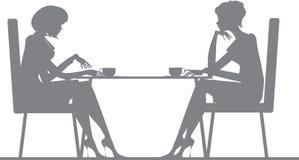 Vrienden die over koffie babbelen stock illustratie