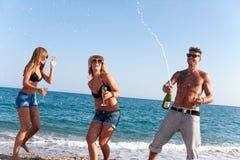 Vrienden die pret hebben bij vieringso strand. Stock Afbeeldingen