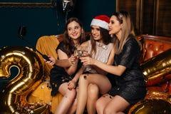 Vrienden die selfie bij Kerstmispartij maken Stock Fotografie