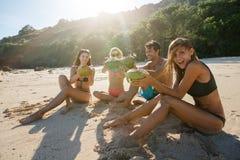 Vrienden die strand van vakantie met verse kokosnotendrank genieten Royalty-vrije Stock Afbeeldingen
