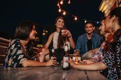 Vrienden die van partij met dranken genieten royalty-vrije stock afbeeldingen