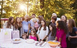 Vrienden en familie die in tuin een childï¿ ½ s verjaardag vieren stock fotografie