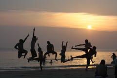 Vrienden in het strand Stock Foto's