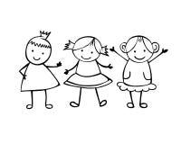 Vrienden 3 meisjes Kleine mensen in de kinderen` s stijl Stock Afbeeldingen