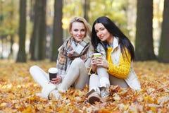Vrienden met koffie in park Royalty-vrije Stock Fotografie