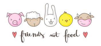Vrienden niet voedsel royalty-vrije illustratie