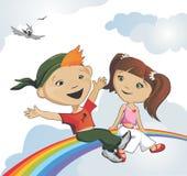 Vrienden op een regenboog Stock Afbeeldingen