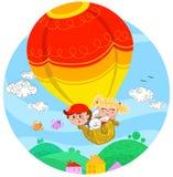 Vrienden op hete luchtballon stock illustratie