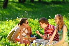 Vrienden op picknick royalty-vrije stock foto