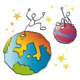 Vrienden op verschillende planeten vector illustratie