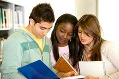 Vrienden of studenten bij de bibliotheek Royalty-vrije Stock Afbeeldingen