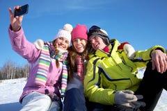 Vrienden in wintertijd Royalty-vrije Stock Foto's