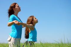 Vriendschap en geluk van mum en dochter Stock Foto