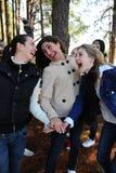Vriendschap - groep gelukkige meisjesvrienden Stock Afbeelding