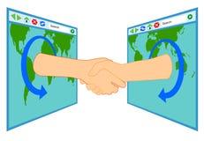 Vriendschap over Internet vector illustratie
