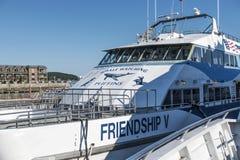 Vriendschap V Walvis het letten op reisboot royalty-vrije stock fotografie