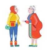 Vriendschap van oude mensen Oude Meisjes Oudere vrouw die op de straat spreken De oude vrouwen bespreken pensionering Oudste die  stock illustratie