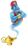 Vriendschappelijk Djinn of genie en magische olielamp Stock Foto's