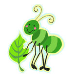 Vriendschappelijk Insect dat een Blad eet Royalty-vrije Stock Afbeeldingen