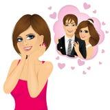 Vriendschappelijk meisje in liefde met handen op haar wangen Stock Foto