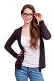 Vriendschappelijk meisje met glazen Stock Foto's