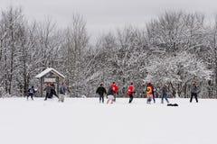 Vriendschappelijk spel van Amerikaanse voetbal in de sneeuw Stock Afbeelding