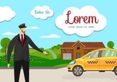 Vriendschappelijk Taxi Driver bij de Dienst van het Autovervoer royalty-vrije illustratie