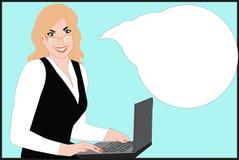 Vriendschappelijke bedrijfsvrouw bij een computer Royalty-vrije Stock Afbeeldingen