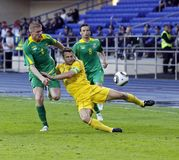 Vriendschappelijke de voetbalgelijke van de Oekraïne - van Litouwen Stock Afbeeldingen