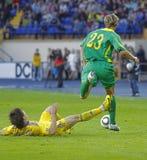 Vriendschappelijke de voetbalgelijke van de Oekraïne - van Litouwen Stock Fotografie