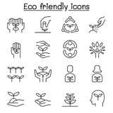 Vriendschappelijke Eco, behoud, die aard, ecologie en milieupictogram bewaren in dunne lijnstijl wordt geplaatst royalty-vrije illustratie