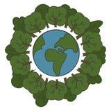 Vriendschappelijke Eco Ecologieconcept met de de Groene Aarde en Bomen van Eco Vector illustratie Royalty-vrije Stock Foto's
