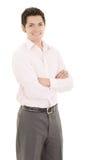 Vriendschappelijke en glimlachende Spaanse zakenman Stock Afbeeldingen