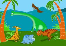 Vriendschappelijke en het glimlachen dinosaurussen in een voorhistorisch landschap Stock Afbeeldingen