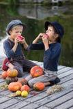 Vriendschappelijke jongens die met pompoenen en appelen zitten Royalty-vrije Stock Foto's