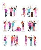 Vriendschappelijke mensenmannen, vrouwen die, en pret zingen hebben bij partij dansen Vrienden die verjaardag vieren Vector beeld vector illustratie