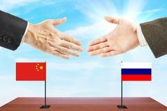 Vriendschappelijke relaties tussen Rusland en China Stock Foto