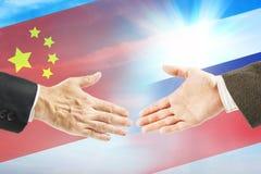 Vriendschappelijke relaties tussen Rusland en China stock afbeelding