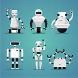 Vriendschappelijke robotsinzameling Futuristisch ontwerp Elektronisch geplaatst speelgoed vector illustratie