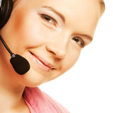 vriendschappelijke secretaresse/telefoonexploitant Stock Fotografie