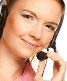 Vriendschappelijke secretaresse/telefoonexploitant Stock Foto