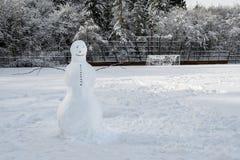 Vriendschappelijke sneeuwman op een sneeuw behandeld voetbalgebied met bosachtergrond stock foto