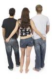 Vriendschappelijke threesome twee Stock Foto