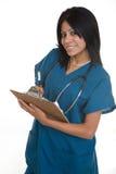 Vriendschappelijke verpleegster met een grafiek Royalty-vrije Stock Afbeeldingen