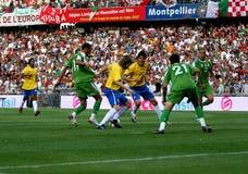 Vriendschappelijke voetbalgelijke Brazilië versus Algerije Royalty-vrije Stock Afbeeldingen