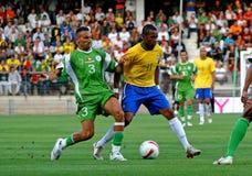 Vriendschappelijke voetbalgelijke Brazilië versus Algerije Stock Foto's